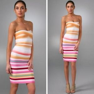 Herve Leger strapless airbrush striped dress